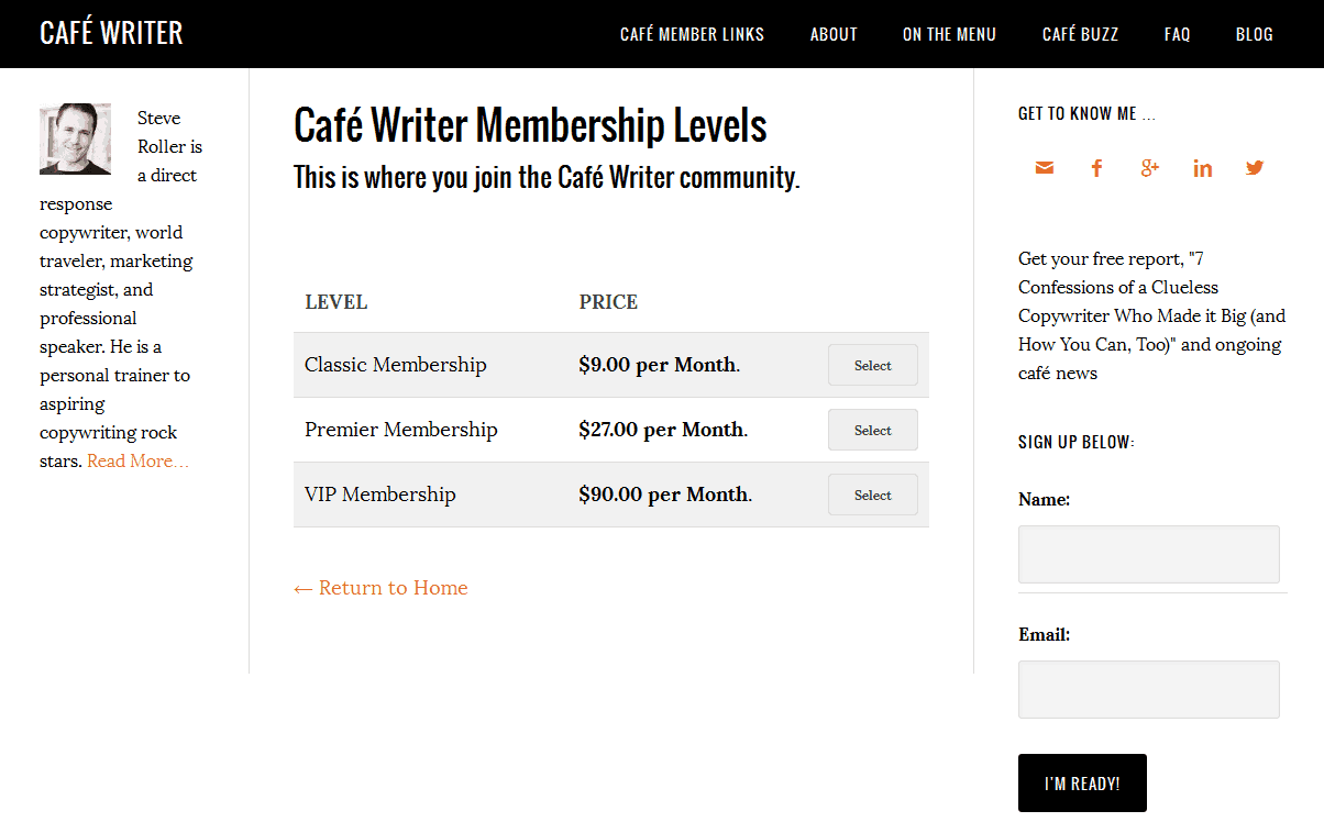 Select the Cafe membership that is right for you - screen